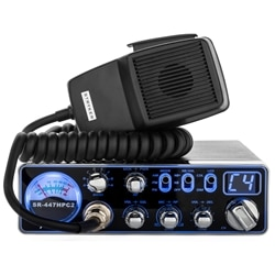 Strykerradios 447HPC2 in the 7 color display with build-in Analog SWR meter and microphone placed on top of the radio.
