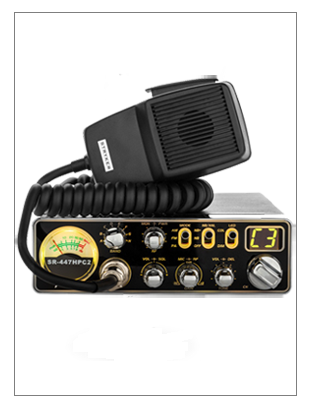 SR-447HPC2 10 Meter Radio in the yellow color display with a microphone on top of it.